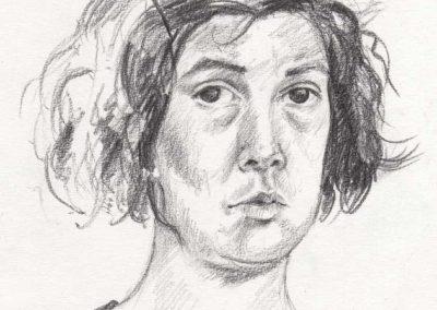 Autoportrait au cran - 19,6 x 17,5 cm - mine de plomb - © Marie-Pierre Lavallard