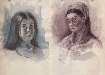 Double portraits - 21,5 x 16 cm - crayons de couleurs, lavis et gouache blanche - © Marie-Pierre Lavallard