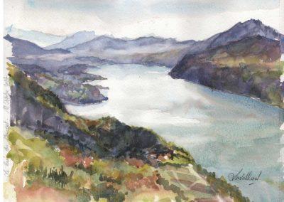 Le lac du Bourget - 32 x 24 cm - aquarelle - © Marie-Pierre Lavallard
