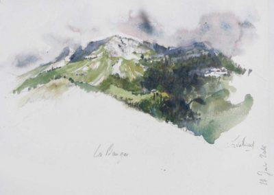 Le mont Colombier - 29,7 x 21cm - aquarelle - © Marie-Pierre Lavallard