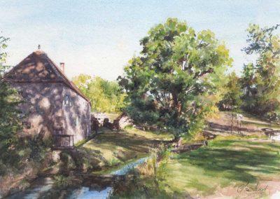 Le moulin de Conche 2 - 31,5 x 21 cm - aquarelle - © Marie-Pierre Lavallard